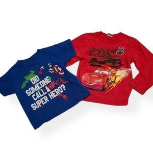 Marvel and Cars tee shirt bundle 4T